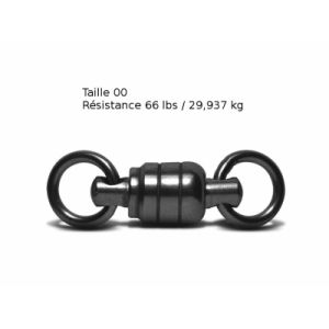 Lot de 3 Emerillons roulement à bille VMC - Taille 00 - Résistance 29 kg - Coloris Black Nickel