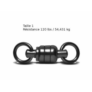 Lot de 3 Emerillons roulement à bille VMC - Taille 1 - Résistance 54 kg - Coloris Black Nickel